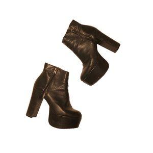 Black leather platform ankle boots size 39